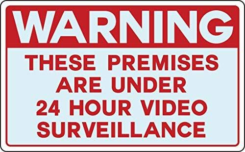 Kysd43Mill Señales de advertencia divertidas para grabación de cámaras de vigilancia espía de vídeo para el hogar, señal de advertencia de peligro de metal, señal de propiedad privada, señal de puerta de jardín, 8 x 12 pulgadas
