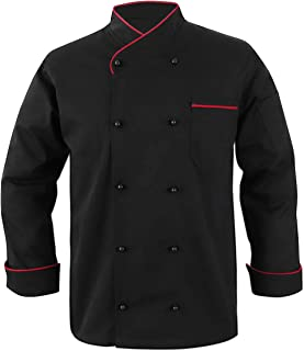 Black Chef Coat Contrast Piping Long Sleeves Jacket