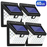 Luces Solares LED Exterior, Guenx Lámpara Solar con Sensor de Movimiento, Foco Solar de Pared para Jardín, Balcón, Garaje, Camino, Acera, 4 Piezas [Clase de eficiencia energética A]