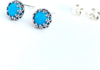 Blue Turquoise Stud Earrings - 925 Sterling Silver - 6mm Studs - Jewelry Gift For Her Women Mom