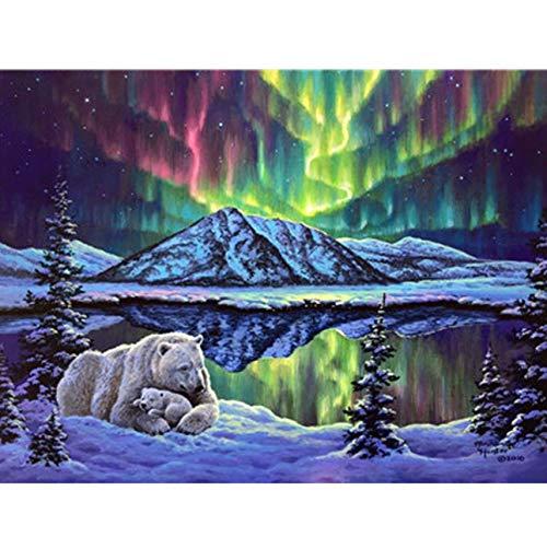 HHYSPA Farbton-Farbe Durch Zahl-Tieraquarell-Eisbär-Bild-Malerei-Schneelandschaftsfarbe Durch Zahlen Mit Farben-Farben Rahmenlos 40X50CM