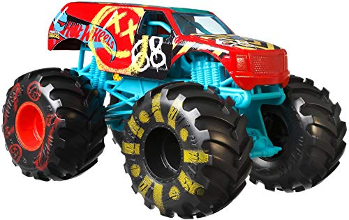 Hot Wheels Monster Trucks Demo Derby die-cast 1:24 Scale Vehicle with Giant Wheels for Kids Age 3 to 8 Years Old Great Gift Toy Trucks Large Scales