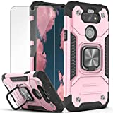 YmhxcY Compatible for LG K31 Case,Fortune 3/Risio 4/Phoenix 5/Tribute Monarch/Aristo 5 Plus/Aristo 5/K8X case with HD Screen Protector,Armor Grade Ring Holder Kickstand for LG K31-KK Rose Gold
