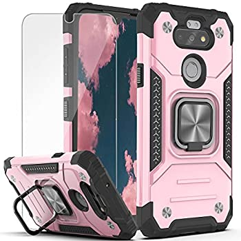 YmhxcY Phone Case Compatible LG K31 Case,Fortune 3/Risio 4/Phoenix 5/Tribute Monarch/Aristo 5 Plus/Aristo 5/K8X with HD Screen Protector,Armor Grade Ring Holder Kickstand for LG K31-KK Rose Gold