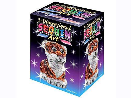 MAMMUT 8101122 - 3D Sequin Art Paillettenfigur Tiger, Steckform, Bastelset mit Styropor-Figur, Pailletten, Steckstiften, Perlen und Anleitung, für Kinder ab 8 Jahre