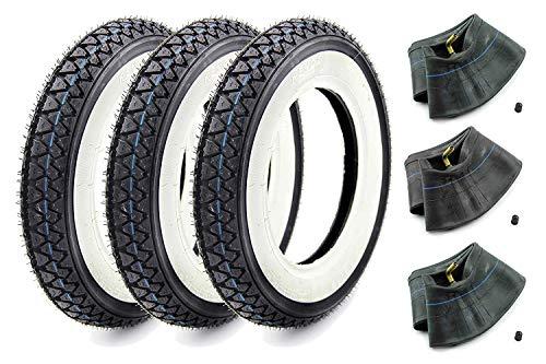 SET: 3 KENDA Weißwand Reifen + 3 Schlauch 3,50 x 10 für Roller - Vespa
