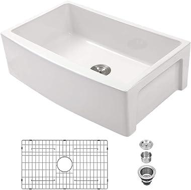 White Farmhouse Sink - Sarlai 30 Inch Kitchen Sink Curved Apron Front White Fireclay Ceramic Porcelain Single Bowl Farm Kitch
