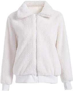 Macondoo Women Autumn Winter Coat Sweatshirt Lapel Zipper Sherpa Overcoat Jacket