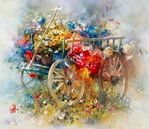 DIY Pintura por Números Kit Pintura al óleo Adultos y niño Principiante sin marco o lienzo resumen Arte Pintado sala a mano Decoración del hogar de estar Carro de flores de paisaje-30x40cm
