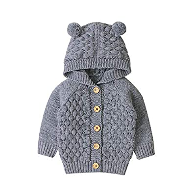 Baby Girl Knit Cardigan Sweater Hoodies Warm Tops Toddler Infant Bear Ear Outerwear Jacket Coat Outfit Clothes (Grey, 6-12 M)