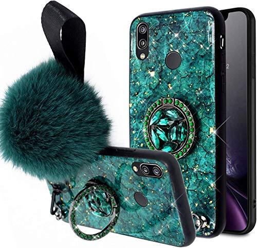 Uposao Kompatibel mit Huawei P20 Lite Hülle mit Ring 360 Grad Ständer Glänzend Glitzer Strass Diamant Transparent TPU Silikon Handyhülle Weiche Durchsichtig Schutzhülle Tasche Case,Grün