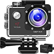 Victure AC400 1080P HD 12MP WiFi Action Camera PC Camera Webcam 30M Underwater Max 170°Wide-Angle Sports Cam with 2 Rechargeable 1050mAh Batteries and Mounting Accessories Kits