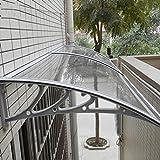 Abri de jardin Taille multiples fenêtres Canopy Auvent, Sun pluie Abri toiture Canopie Pare-soleil Porte Patio Cover Protection UV ombre Couverture (Size : 100×60.5×19cm)