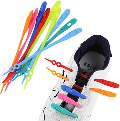 14pcs lazy silicone shoelaces round elastic shoe laces, lazy tying-free elastic shoelaces, white tie free laces adult, tie-free silicone laces, elastic silicone rubber easy no tie (White)