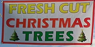 True Beaming 3ft x 6ft - Fresh Cut Christmas Trees Sale Banner & Sign Quality Guaranteed