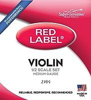 Super-Sensitive 2104 Red Label Orchestra 1/2 Violin Strings, Medium Gauge by Super Sensitive