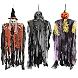 "JOYIN 3 Pack 35.3"" Hanging Witch & Grim Reaper & Pumpkin Scarecrow with Bendable Arms, Halloween Indoor and Outdoor Decorations"