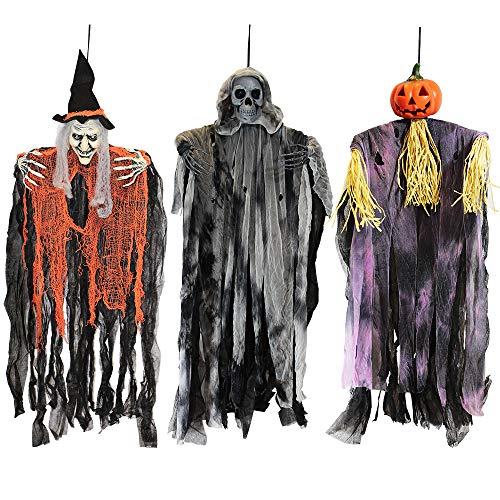 Joyin, confezione da 3 spaventapasseri da appendere con strega e zucca, con braccia pieghevoli, per Halloween, decorazioni per interni ed esterni