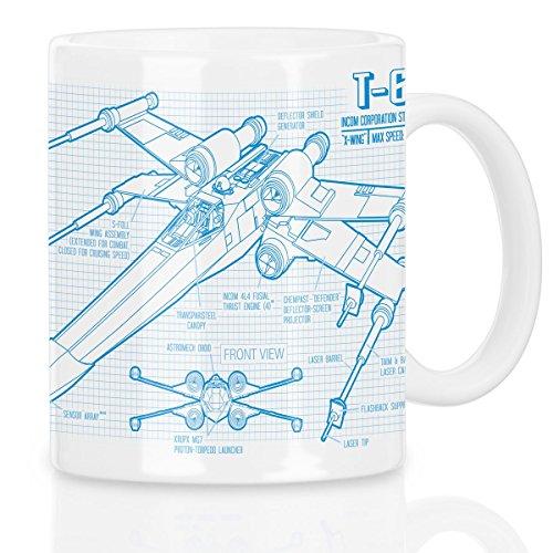 style3 X-Wing Cianotipo Taza con motivo fotocalco azul t-65