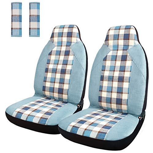 カーシートカバー チェック柄 前席シートカバー 綿麻生地 バケットシート フロントシートカバー2個+シートベルトカバー2個入り 軽自動車 普通車 座席保護カバー フロント座席適用 (ブルー)