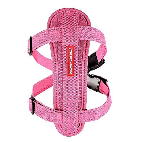 EzyDog, pettorina per cani con cintura di sicurezza, pettorina per cani, pettorina di sicurezza, pettorina per cani di taglia piccola, media e grande, riflettente, imbottita, colore rosa