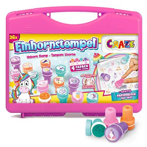 Craze - Sellos Infantiles Unicornios, Unicornio Juguete Para Niños Y Niñas, Juego Educativo Creativo, Kit 26 Cuños De Diferentes Colores Para Manualidades