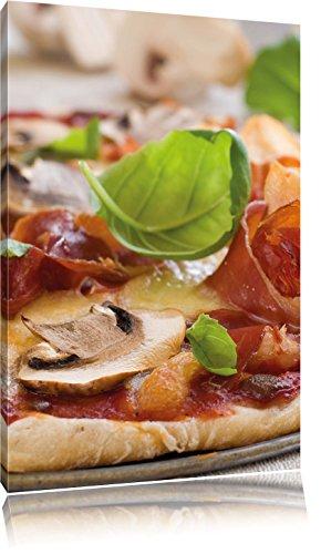 Pizza met ham paddestoelenFoto Canvas | Maat: 60x40 cm | Wanddecoraties | Kunstdruk | Volledig gemonteerd