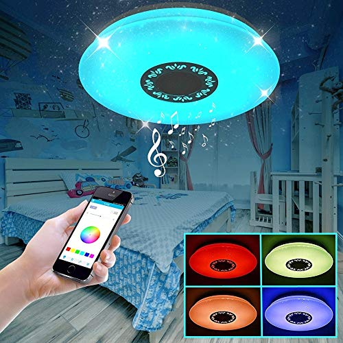 IYUNXI Starlight LED Ceiling Light with Bluetooth Speaker 36W 16Inch Remote Control Dimmable Color Light Adjustable 4000LM Upgrade Music Ceiling Light Fixture Hollow-Out Flower Pattern for Bedroom