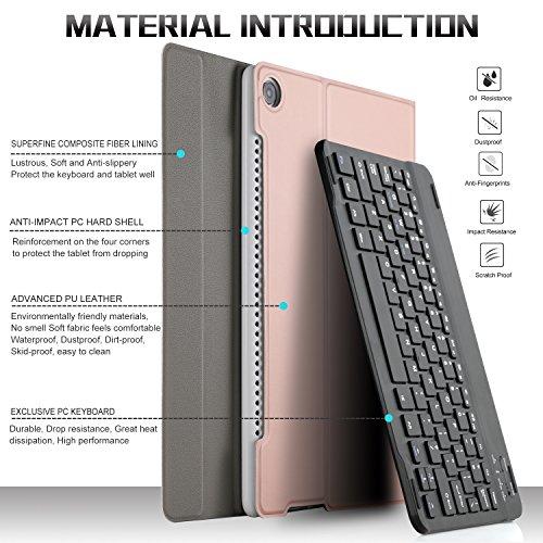 IVSO Tastatur Hülle für Huawei MediaPad M5 10.8, [Deutsches QWERTZ-Layout] Keyboard Case für Huawei MediaPad M5 10.8 Pro / M5 10.8 Zoll 2018 Modell,Rosegold - 6