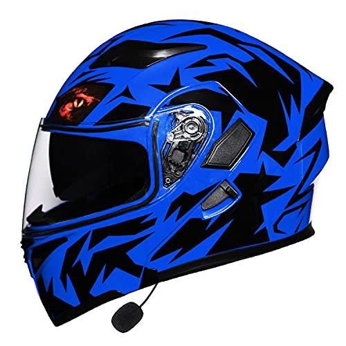 XIUJC Casco de Motocicleta con Bluetooth Integrado, Casco De Moto Modular con Función De Respuesta Automática con Certificación Dot/ECE con Gafas De Protección Solar Dual (Color:A,Size:L)