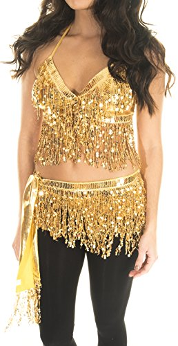Turkish Emporium Bauchtanzkostüm Bauchtanz kostüm 2-TLG. BH & Minirock Gürtel (Gold)