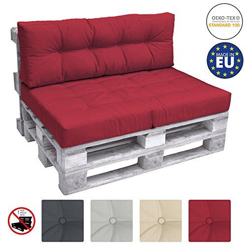 Beautissu Cuscino spalliera per Divano in Pallet Eco Elements 120x40x10-20cm - per divani con bancali di Legno - Rosso
