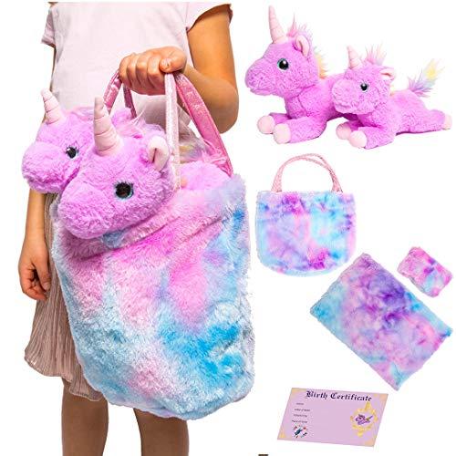 Little Jupiter Mommy & Baby Unicorn Gift for Girls 4 - 5 - 6 - 7 yrs - Stuffed Animal Set w/ 2 Purple Plush Toys - Rainbow Purse Bag, Doll Pillow, Blanket, & Birth Certificate - Plushies for Birthday