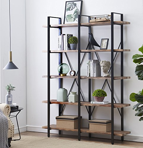O&K Furniture Double Wide 5-Tier Open Bookcases Furniture, Vintage Industrial Etagere Bookshelf, Large Book Shelves for Home Office Decor Display, Retro Brown