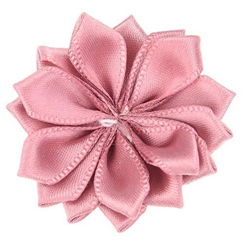 20PCS 4cm Haar-Blumen-Satin-Blumen DIY Blumenstrauß Haarschmuck Rosette Spitz ohne Hairbow Hair Clips,Altrosa