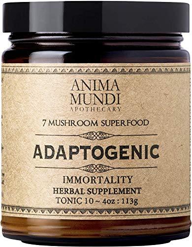 Anima Mundi Adaptogenic Immortality 7 Mushroom Superfood Blend with Cacao - Organic Mushroom Powder, Immune Support Supplement with Reishi, Lions Mane, Chaga, Maitake & Cordyceps (4oz / 113g)
