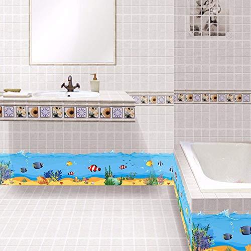 Lyqyzw Unterwasserwelt Wasserdichte Sockelleiste Wandaufkleber Badezimmer Küche Kindergarten Baseboard Vinyl Kunst Aufkleber Ozean Fisch Wandbild