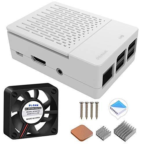 GeeekPi Funda para Raspberry Pi 3 Modelo B + (B Plus), con Ventilador de refrigeración y disipadores térmicos 3PCS para Raspberry Pi 3/2 Modelo B (no Incluye Placa Raspberry Pi)(Blanco)