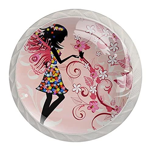 Redondo Blanco pomos Flor Mariposa Hada Niña para muebles de habitación infantil, para habitación infantil, armarios, cajones, baúles (4pcs) 35mm