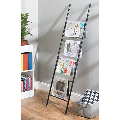 mDesign Metal Free Standing Bath Towel Blanket Ladder Storage Organization, Rack for Bathroom, Bedroom, Laundry Room - Matte Black