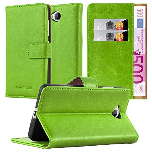 Cadorabo Hülle für Nokia Lumia 650 - Hülle in Gras GRÜN – Handyhülle im Luxury Design mit Kartenfach & Standfunktion - Hülle Cover Schutzhülle Etui Tasche Book
