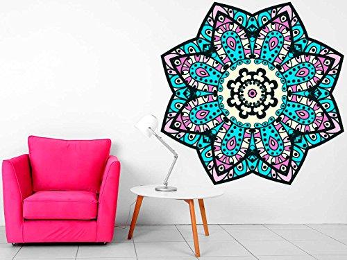 Vinilo Decorativo Pared Mandala Floral   Varias Medidas 100x100cm   Multicolor   Pegatina Adhesiva Decorativa de Diseño Elegante