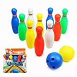 yoptote Jeu de Bowling Quilles Enfant de 10 Quilles et 2 Bowling Balles Jeu de Plein Air Jardin de Famille Société pour Enfant 3 Ans+