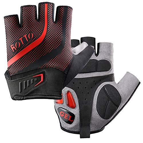 ROTTO Fahrradhandschuhe MTB Handschuhe Halbfinger Vollfinger für Herren Damen mit Gel und SBR-Polsterung (B-Schwarz-Rot, XL)