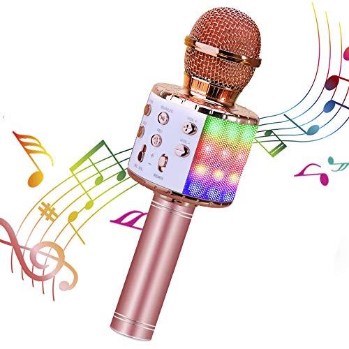 Karaoke Microphone, ShinePick 4 in 1 Wireless Bluetooth Microphone, Dancing LED Lights Portable...