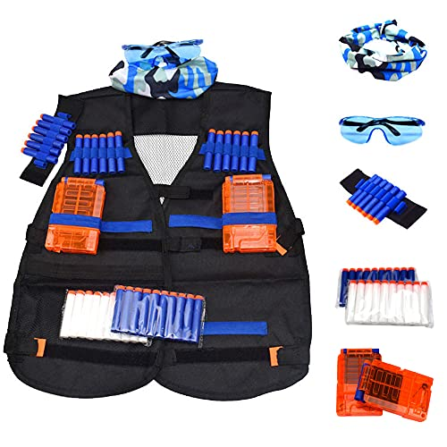 Tactical Vest Accessories Set for Nerf N-Strike Elite Series with 20 Refill Darts, 2 Quick Reload Clips, Wrist Ammo Holder, Safety Glasses, and Tube Mask