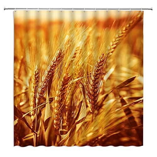 Herbst Bauernhof Landschaft Duschvorhang Gold Gelb Weizen 3D Druck Wasserdicht Polyester Tuch Badezimmer Duschvorhänge Bad Display-72 X 72 Zoll
