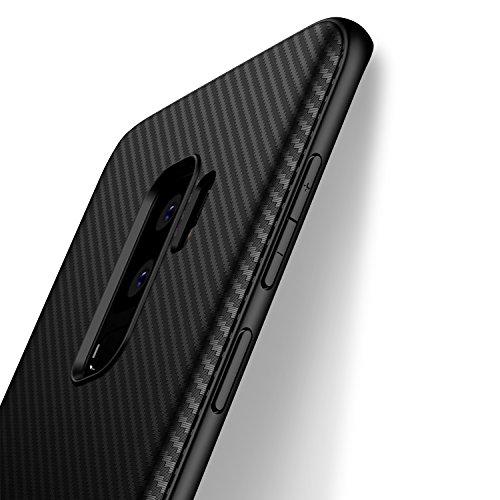 Cover Samsung Galaxy S9 Plus J Jecent Custodia Samsung Galaxy S9 Plus Look in Fibra di Carbonio di Protezione in Morbida Silicone TPU [Anticaduta Antiscivolo Antigraffio Antiurto] Case - Nero