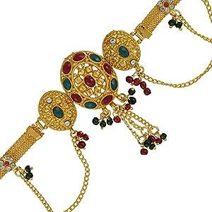 Memoir Brass Gold Plated, 3 Oval Design, CZ Kundan Faux Ruby,Emerald, Rasrawa, Patta Design, Waistbelt, Bellychain, Kamar bandh Women Traditional, Bridal Jewellery