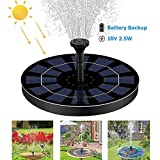 AWIK Solar Fountain Pump 2.5W Circle Floating Solar Water Fountains Pump Built-in Battery Backup with 6...